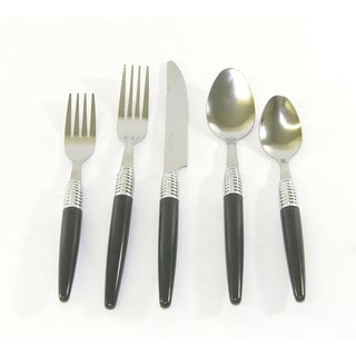 Bellamo Modern Spiral 20-piece Service for 4 Casual Black Flatware Set