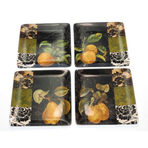 Certified International 'Damask Fruit' Assorted Dessert Plates (Set of 4)