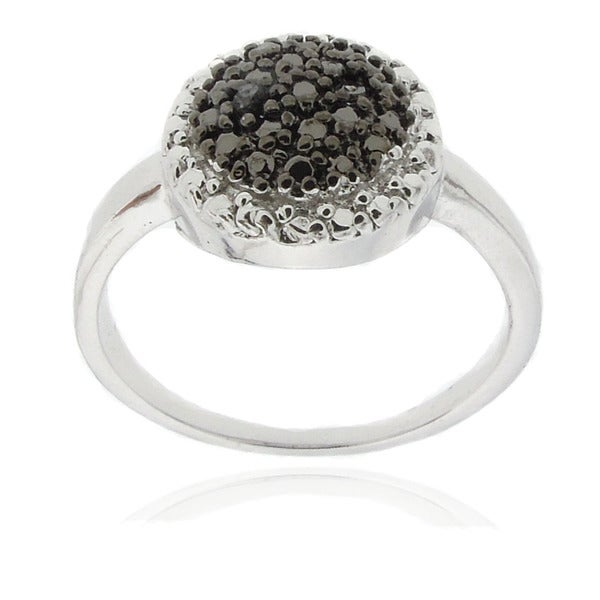 Finesque Sterling Silver Black Diamond Accent Ring