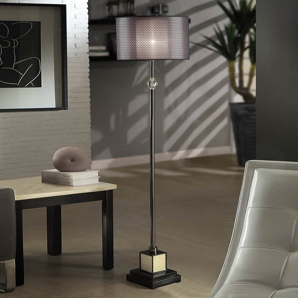 TRIBECCA HOME Lacey Black Chrome Floor Lamp