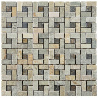 SomerTile 12x12-in Ridge Spiral Multi Sunset Stone Mosaic Tile (Pack of 5)