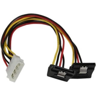 StarTech.com 12in LP4 to 2x Right Angle Latching SATA Power Y Cable S