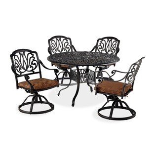 Cast-Aluminum Floral Blossom Five-Piece Dining Set by Home Styles