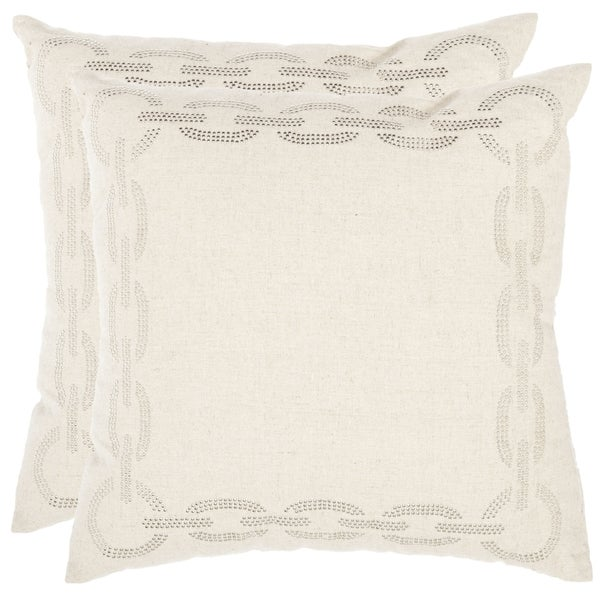 Safavieh Sibine 18-inch Ivory Decorative Pillows (Set of 2)