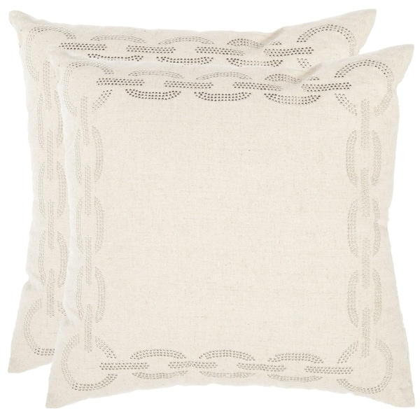 Safavieh Sibine 22-inch Ivory Decorative Pillows (Set of 2)