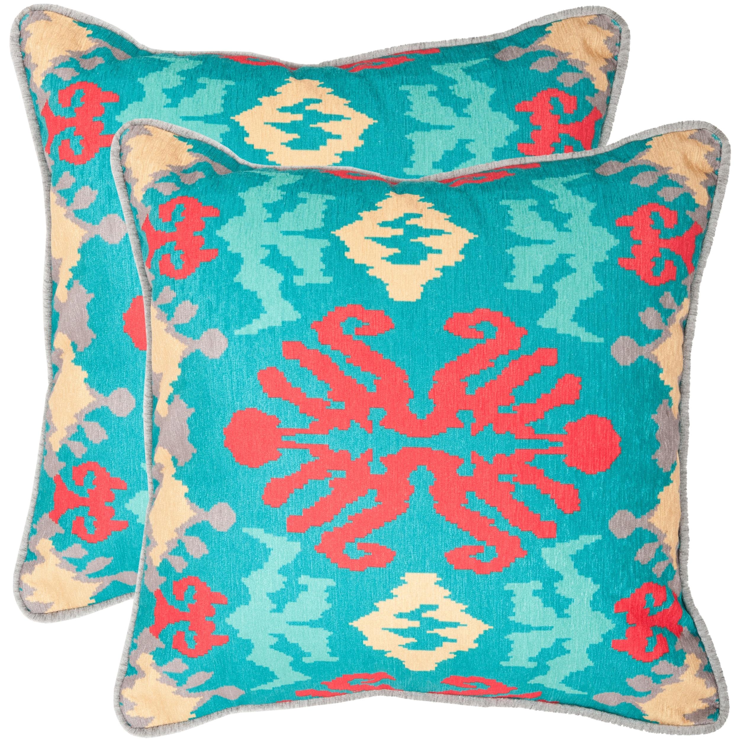 Safavieh Rye 20 Inch Aqua Blue Decorative Pillows Set Of 2 Overstock 7576236