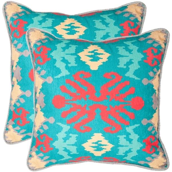 Safavieh Rye 20-inch Aqua Blue Decorative Pillows (Set of 2)