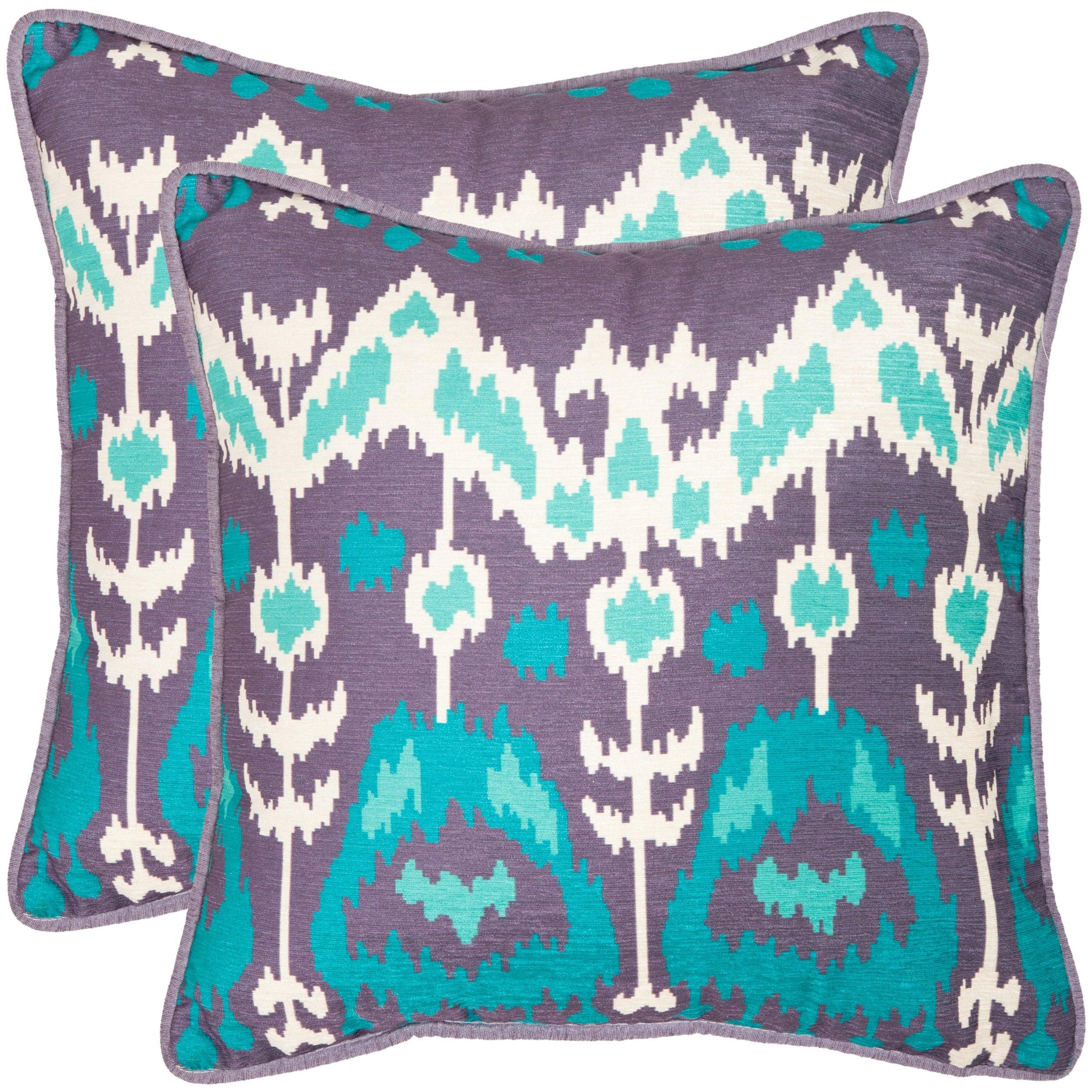 Safavieh Manhattan 22 Inch Lavander Aqua Blue Decorative Pillows Set Of 2 Overstock 7576240