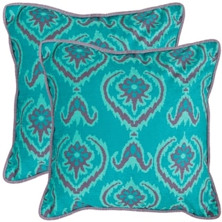 Safavieh Alpine 18-inch Aqua Blue Decorative Pillows (Set of 2)
