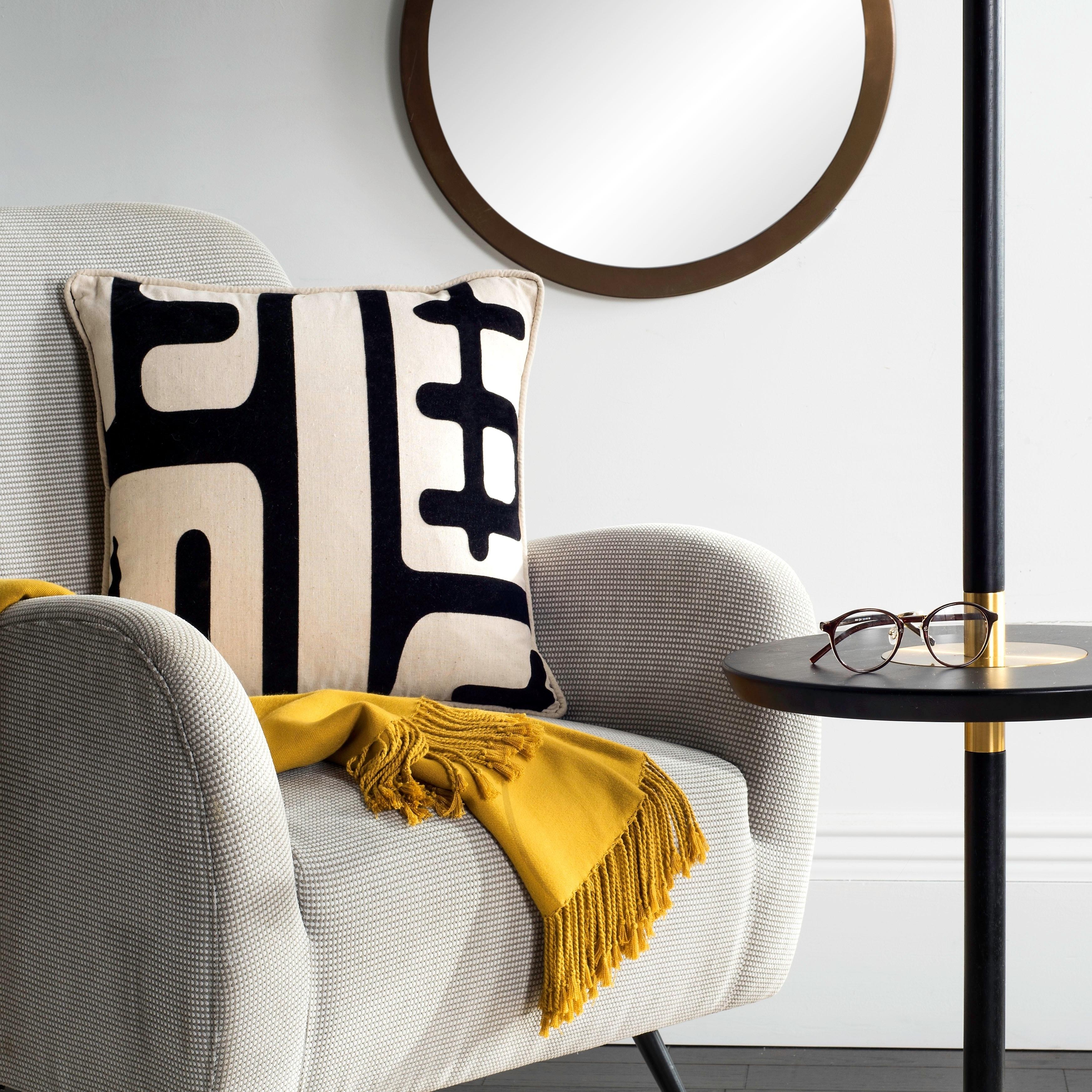Safavieh Maize 18 Inch Ivory Black Decorative Pillows Set Of 2