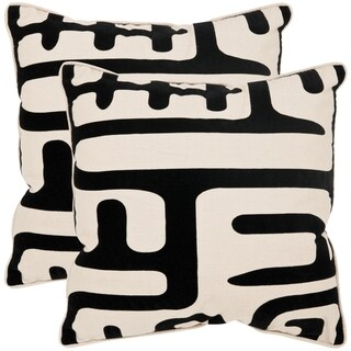 Safavieh Maize 20-inch Ivory/ Black Decorative Pillows (Set of 2)
