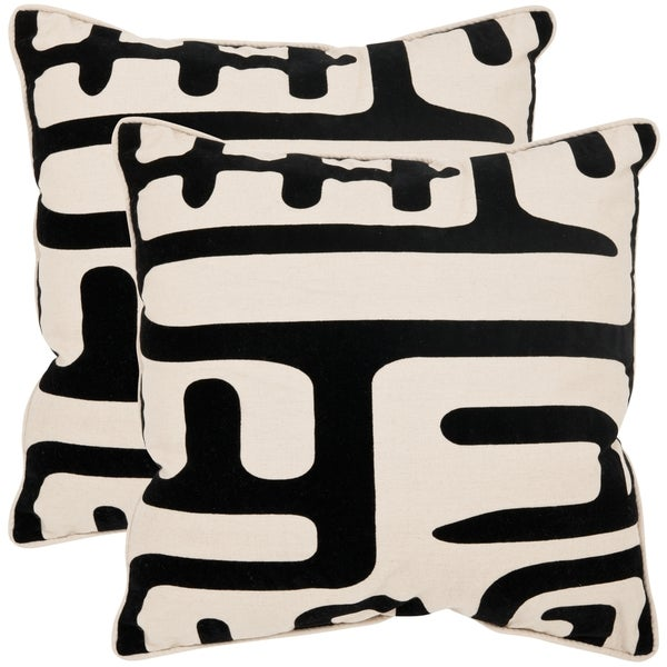 Safavieh Maize 22-inch Ivory/ Black Decorative Pillows (Set of 2)