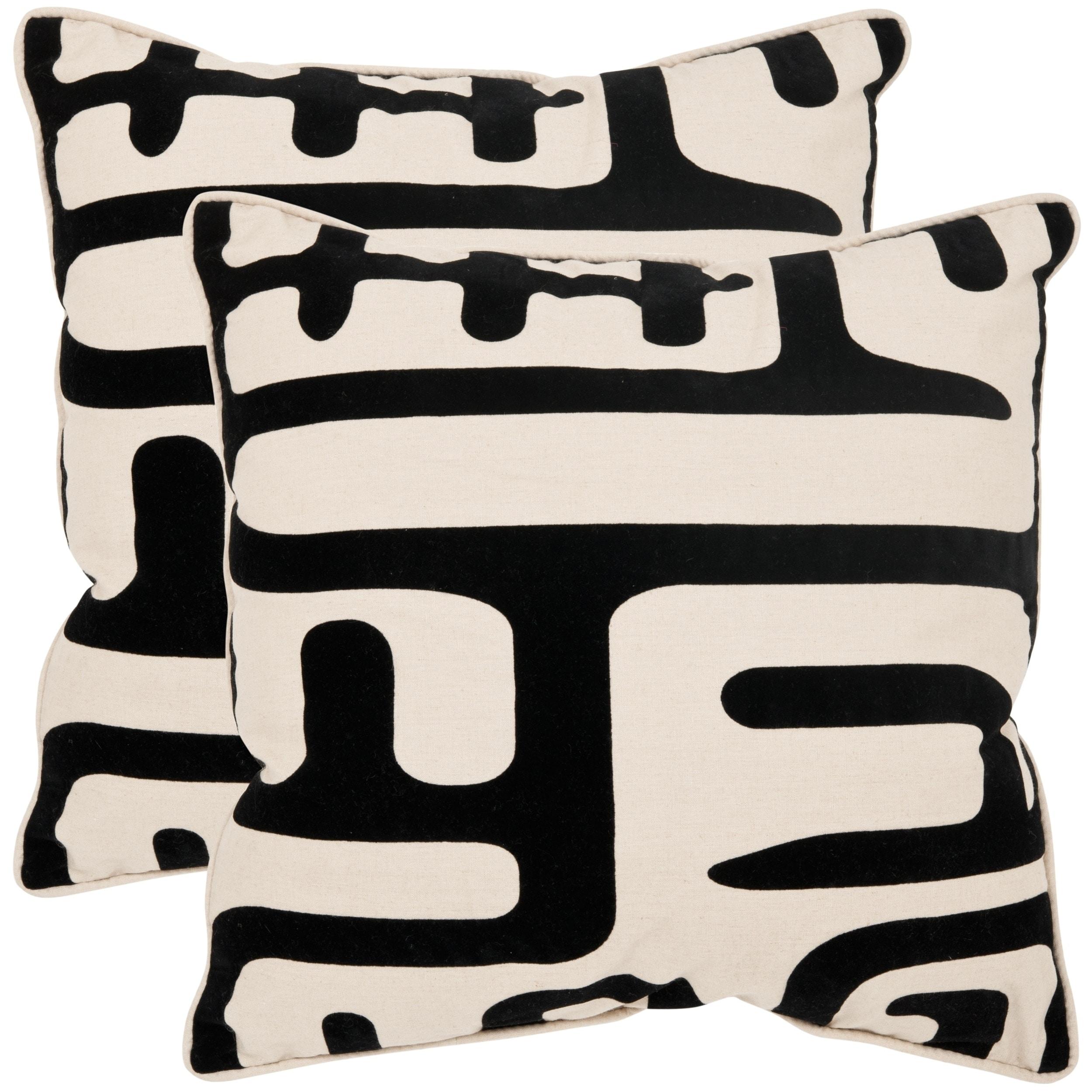 Safavieh Maize 22 Inch Ivory Black Decorative Pillows Set Of 2