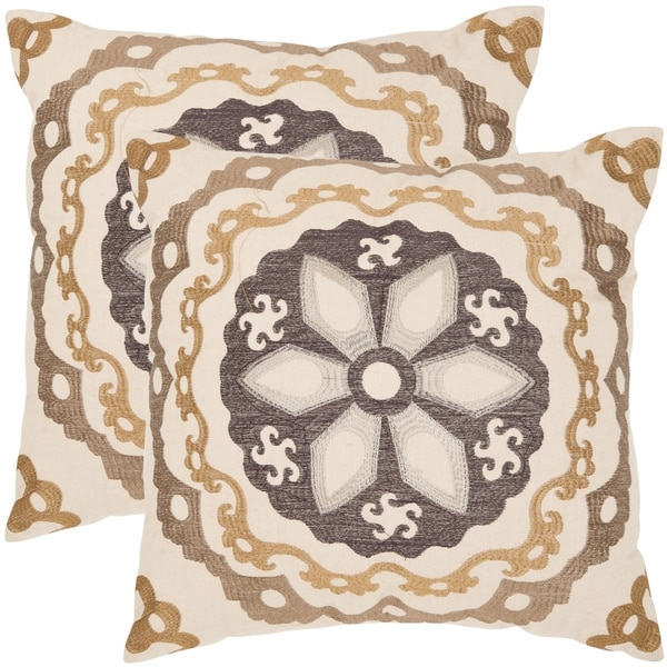 Safavieh Thea 22-inch Taupe/ Gold Decorative Pillows (Set of 2)