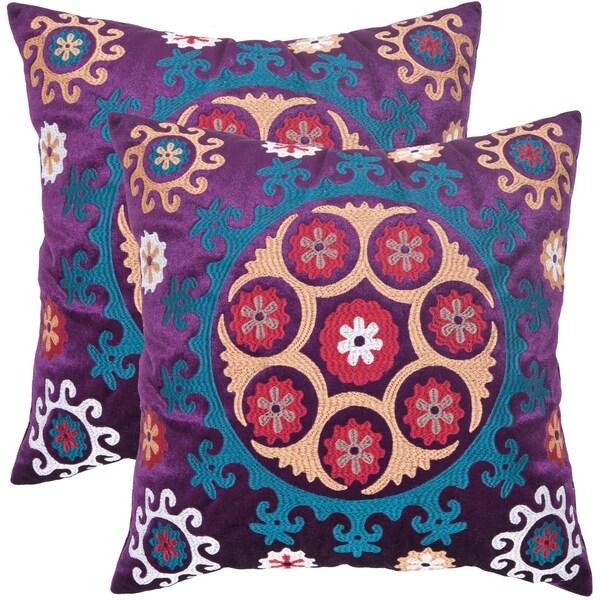 Safavieh Vanessa 20-inch Purple Decorative Pillows (Set of 2)