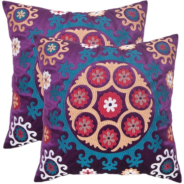 Safavieh Vanessa 22-inch Purple Decorative Pillows (Set of 2)