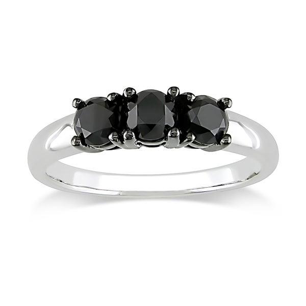 Miadora 10k White Gold 1ct TDW Black Diamond 3-stone Ring