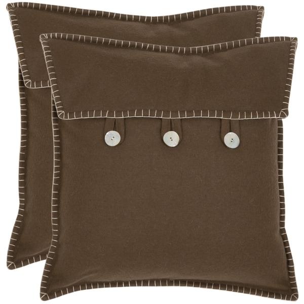 Safavieh Scudder 18-inch Brown Decorative Pillows (Set of 2)
