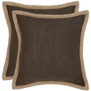 Safavieh Sweet Serona 18-inch Brown Decorative Pillows (Set of 2)