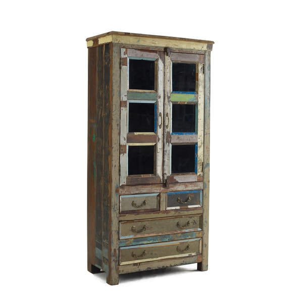 Kosas Home Vintage Multi Color Glass Panel Cabinet