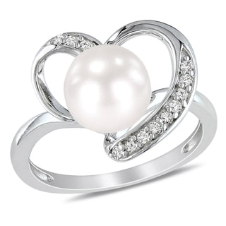 Miadora Sterling Silver Pearl and 1/10ct TDW Diamond Ring (H-I, I2-I3)
