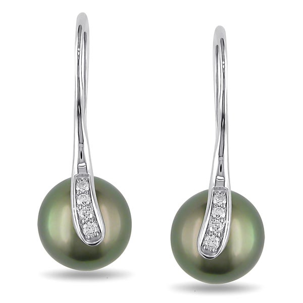Miadora 14k Gold Tahitian Pearl and 1/10ct TDW Diamond Earrings (G-H, I1-I2)