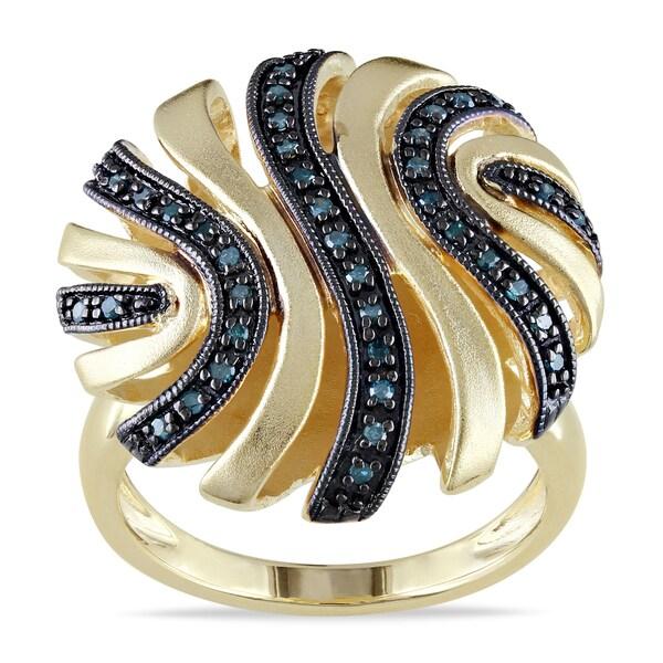Miadora Sterling Silver 1/5ct TDW Blue Diamond Ring