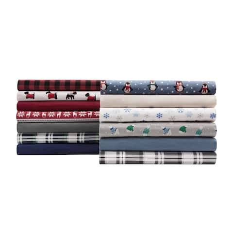 Elite Home Products Medium Blue Winter Nights Cotton Flannel Bed Sheet Set