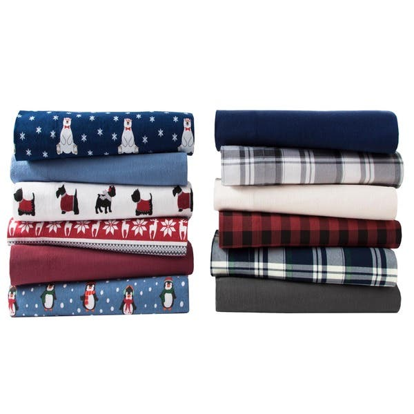 Elite Home Products Medium Blue Winter Nights Cotton Flannel Bed Sheet Set On Sale Overstock 7576380