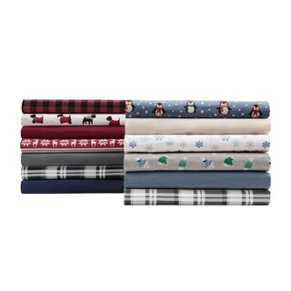 Elite Home Products Solid Red Cotton Flannel Sheet Set