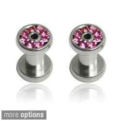 Supreme Jewelry Stainless Steel Pink Cubic Zirconia Tapers