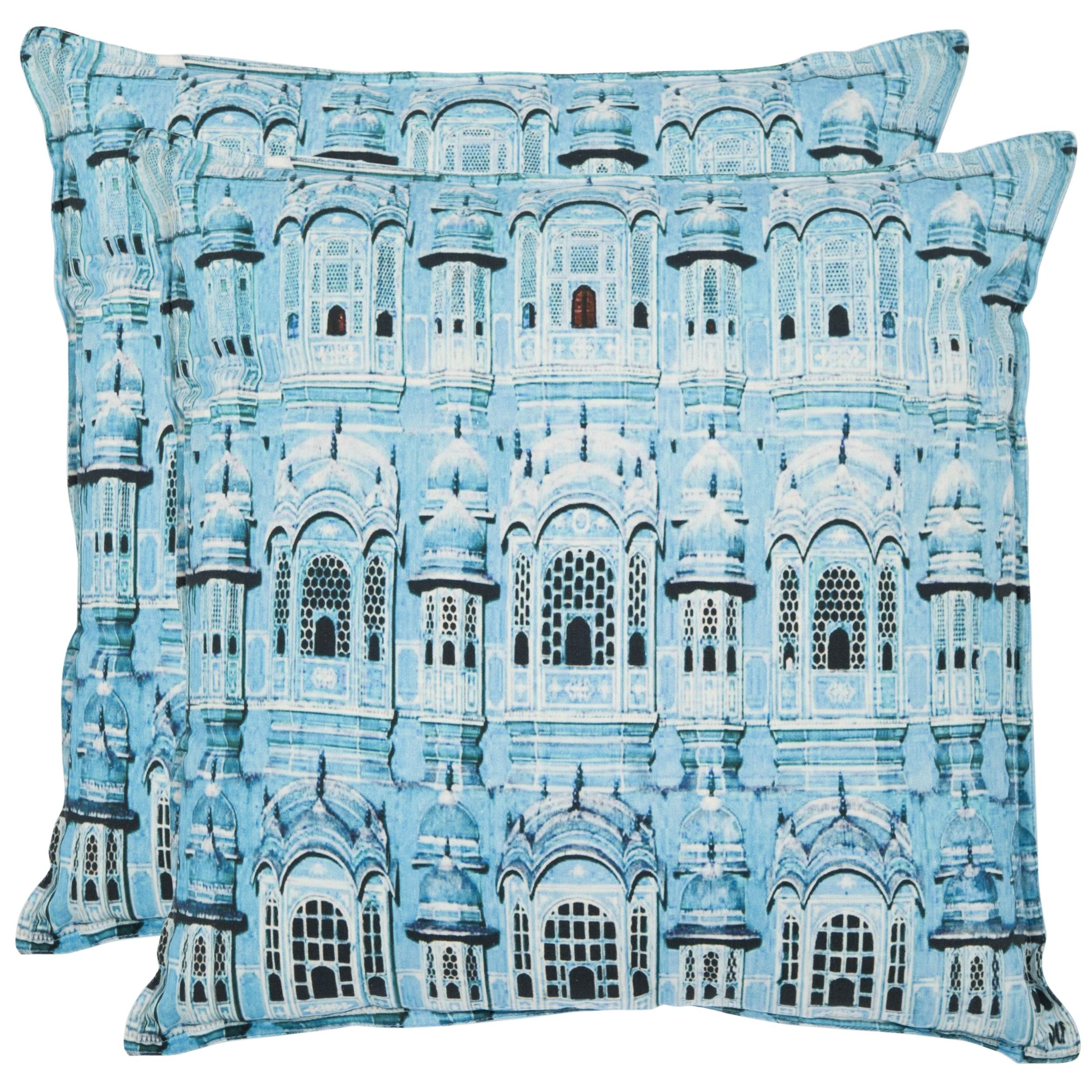 Shop Safavieh Verona 20 Inch Turquoise Decorative Pillows Set Of 2 Overstock 7576449