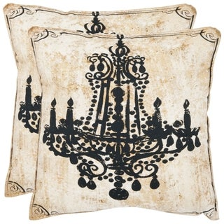 Safavieh Velleron 20-inch Antiqued Beige Decorative Pillows (Set of 2)