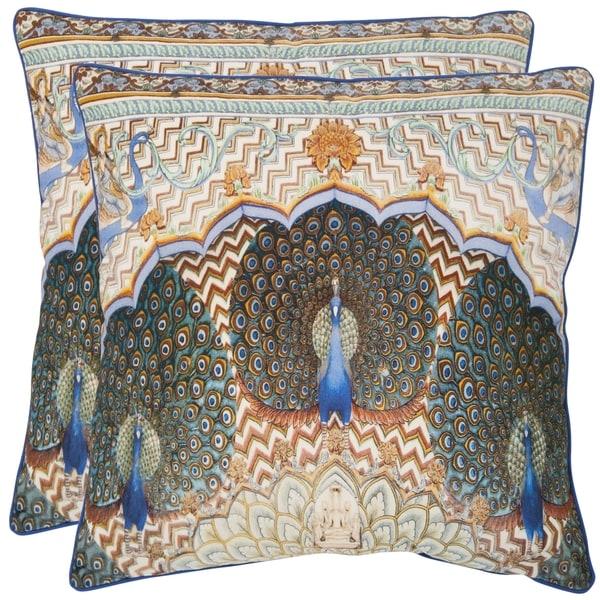 Safavieh Raj Peacock 20-inch Ivory/ Purple Decorative Pillows (Set of 2)