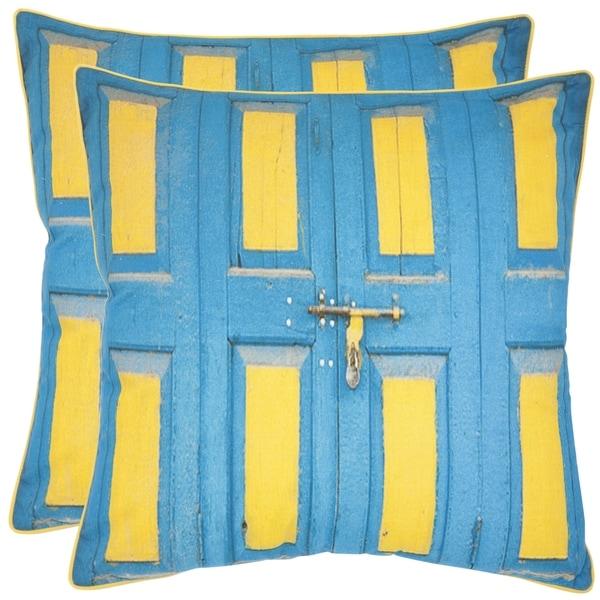Safavieh Nador 18-inch Aqua Blue/ Yellow Decorative Pillows (Set of 2)