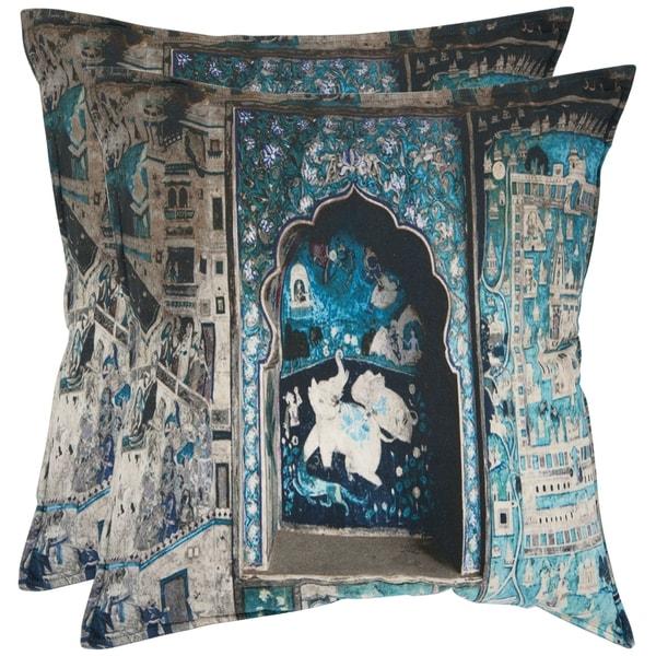 Safavieh Adari 18-inch Turquoise/ Grey Decorative Pillows (Set of 2)