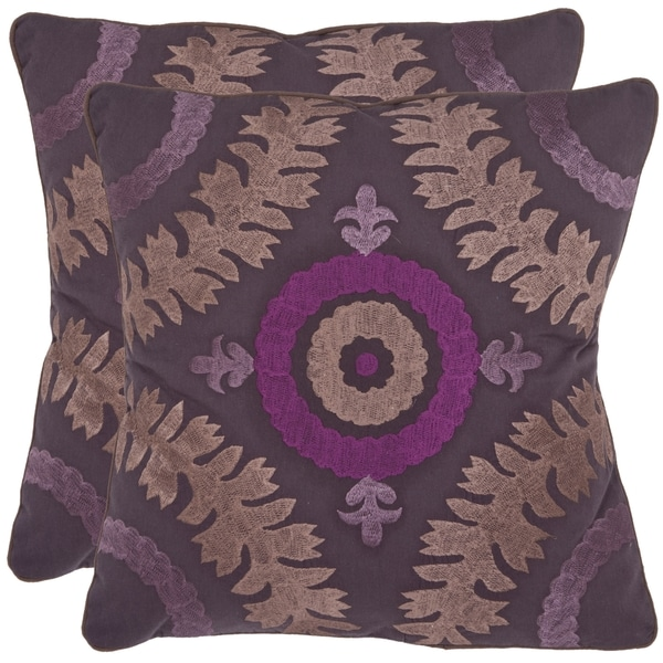 Safavieh Alahambra 18-inch Purple Decorative Pillows (Set of 2)
