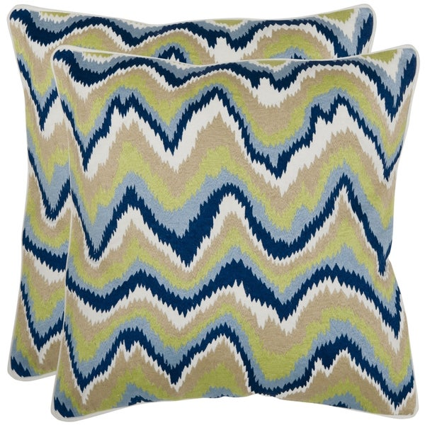 Safavieh Bali 18-inch Blue/ Green/ White Decorative Pillows (Set of 2)