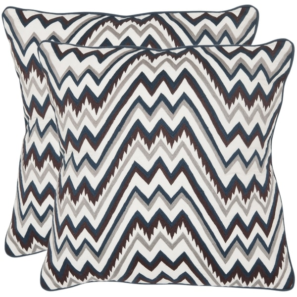 Safavieh Highland 18-inch White /Brown/ Blue Decorative Pillows (Set of 2)