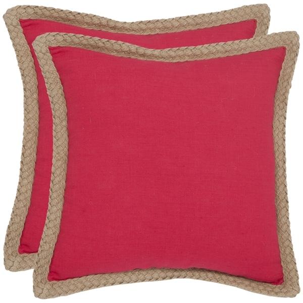 Safavieh Sweet Serona 18-inch Red Decorative Pillows (Set of 2)