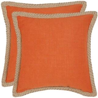 Safavieh Sweet Serona 18-inch Orange Decorative Pillows (Set of 2)