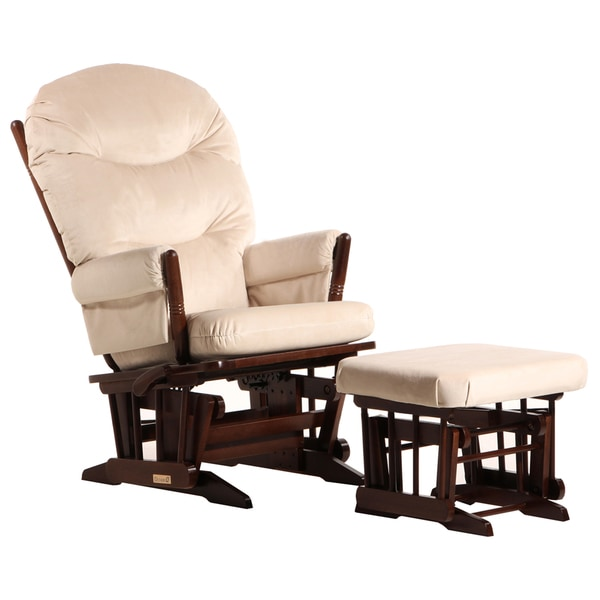 Dutailier Coffee/ Light Beige 2-post Multi-position Glider and Ottoman Set