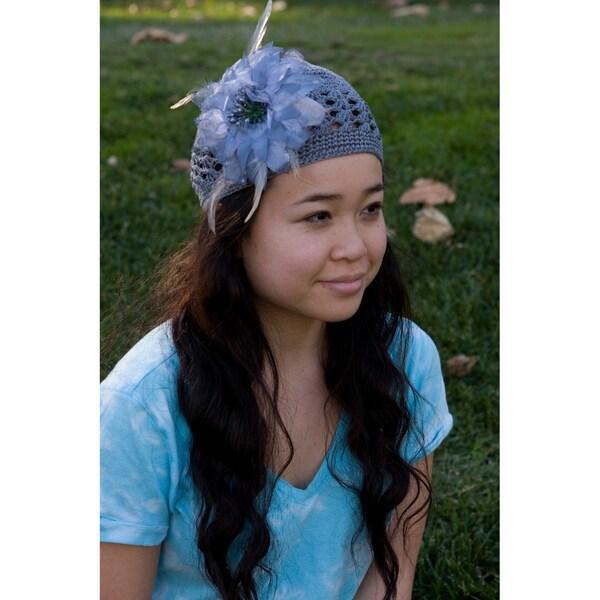 Bobitty Boo Alexa Crochet Kufi Hat with Silver Shimmery Flower