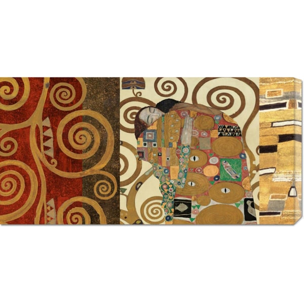 Global Gallery Klimt Patterns 'The Embrace Gold' Stretched Canvas Art
