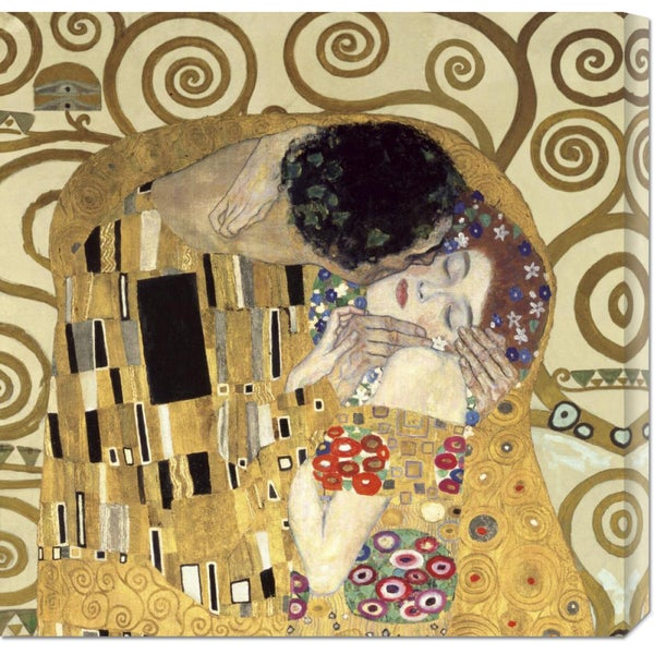 Global Gallery Gustav Klimt 'The Kiss' Stretched Canvas Art - Cream/Gold