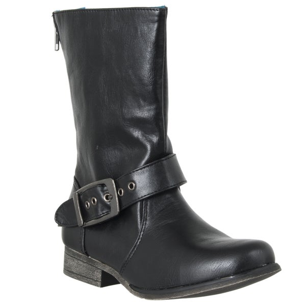 Riverberry Women's 'Marla' Black Buckle Mid-calf Boots