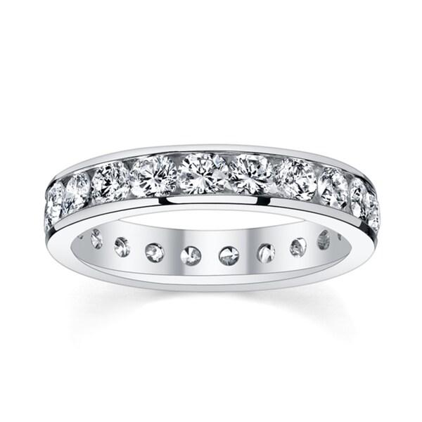 14k White Gold 2ct TDW Diamond Channel Eternity Wedding Band (H-I, I1-I2)