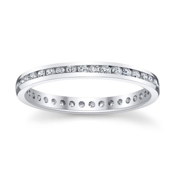 14k White Gold 1ct TDW Diamond Channel Eternity Wedding Band (H-I, SI1-SI2)
