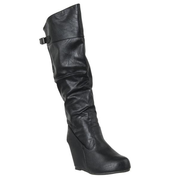 Riverberry Women's 'Carmela' Black Hidden Wedge Knee-high Boots