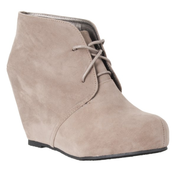 Riverberry Women's 'Carmela' Taupe Microsuede Hidden Wedge Booties